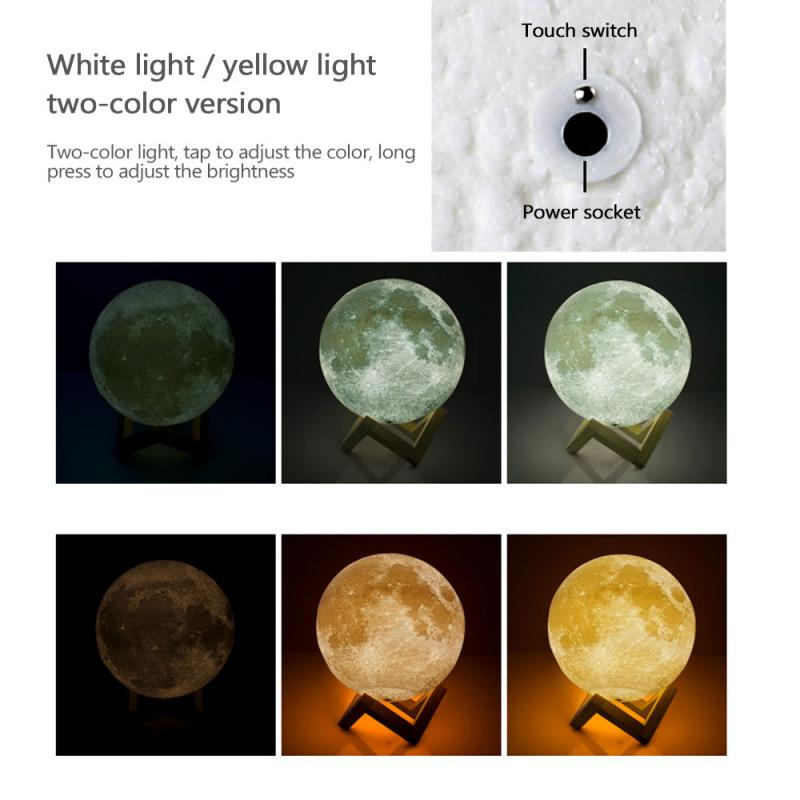 Moon Lamp 3D Print Night Light Rechargeable Touch Two-color Remote Control 16 Colors LED Moon Light Gift Bedroom Decoration Gift