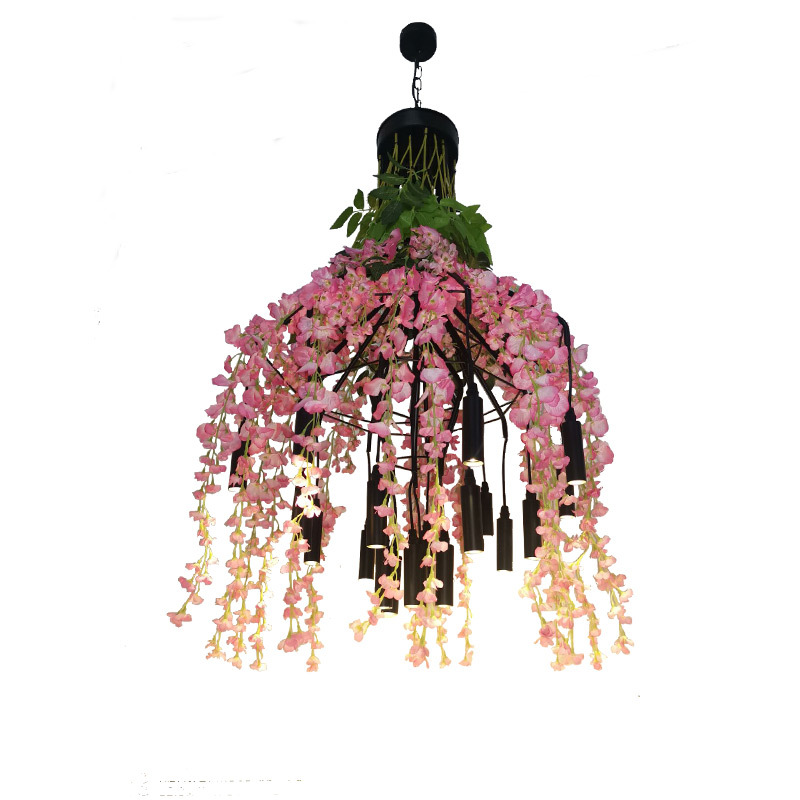 Flower Pendant Light Chandelier In Bar Restaurant 33 Watt Warm Light Plant Chandelier Pendant Lighting Fixture Decoration Lamp