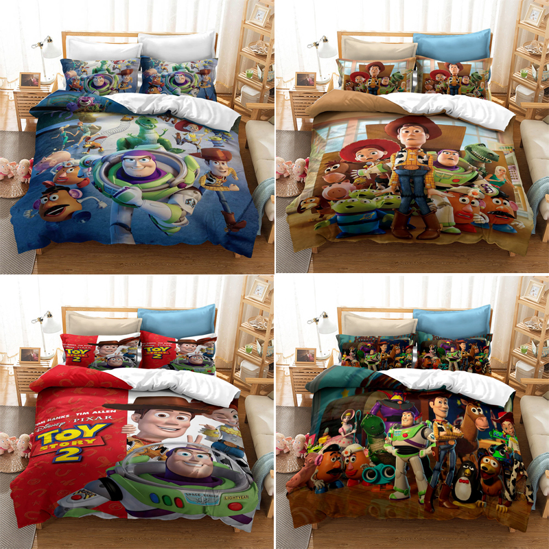 Disney Toy Story 4 Woody Bedding Set Buzz Lightyear Children Cartoon 3D Quilt Cover Pillow Case Anime Toy Story 4 Home Textile