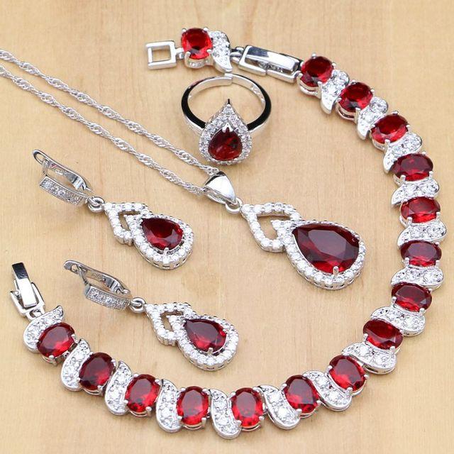 Water Drop 925 Sterling Silver Jewelry Red CZ Stone Jewelry Sets Women Earrings/Pendant/Necklace/Open Rings/Bracelet