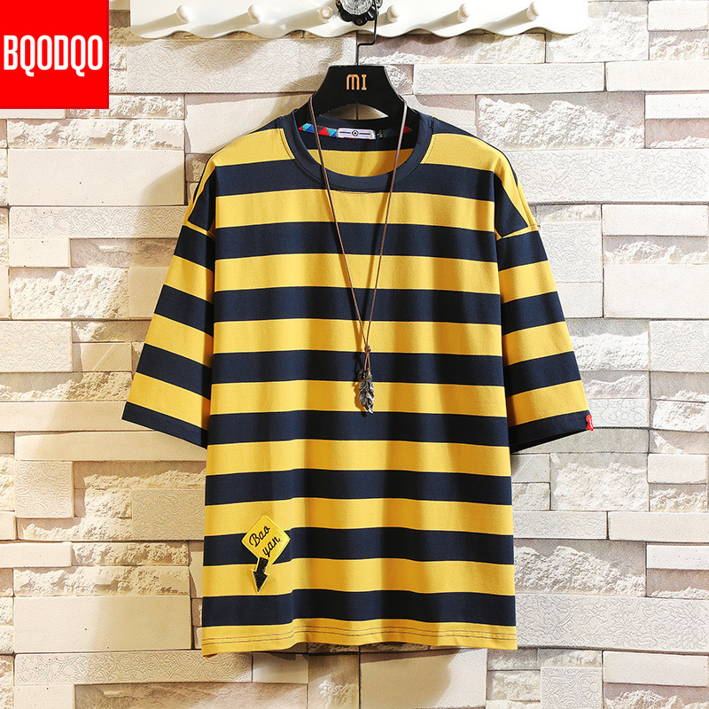 Oversized Hip-hop Casual Fashion T-shirt Male Cotton Short Sleeve Stripe Fitness Tee Men Blue Summer Streetwear Harajuku T Shirt