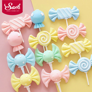 Colorful Clay lollipop Candy Happy Birthday Cake Topper Kid Party Supplies Cake Decorating