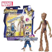 Marvel Avengers Groot&Rocket Raccoon Model Collection Action Figure Hot Toys Dolls Set Christmas New Year Gift for Kids