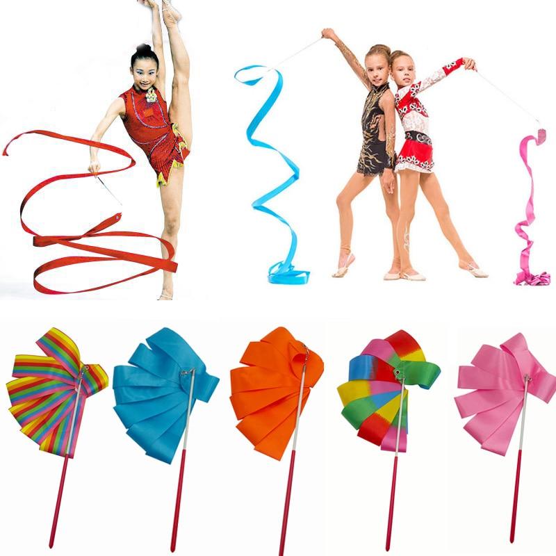 (10 Pcs/lot) 2M/4M Gym Gymnastics Dance Ribbon Twirling Rod Stick Ballet Skating Gymnastics Toy Nylon Training Dance Ribbons S