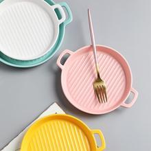 Binaural Baking Dish Pizza Plate Round Tableware Ceramic Dinner Plate Porcelain Dessert Tray Cake Plate Kitchen Tableware Tools