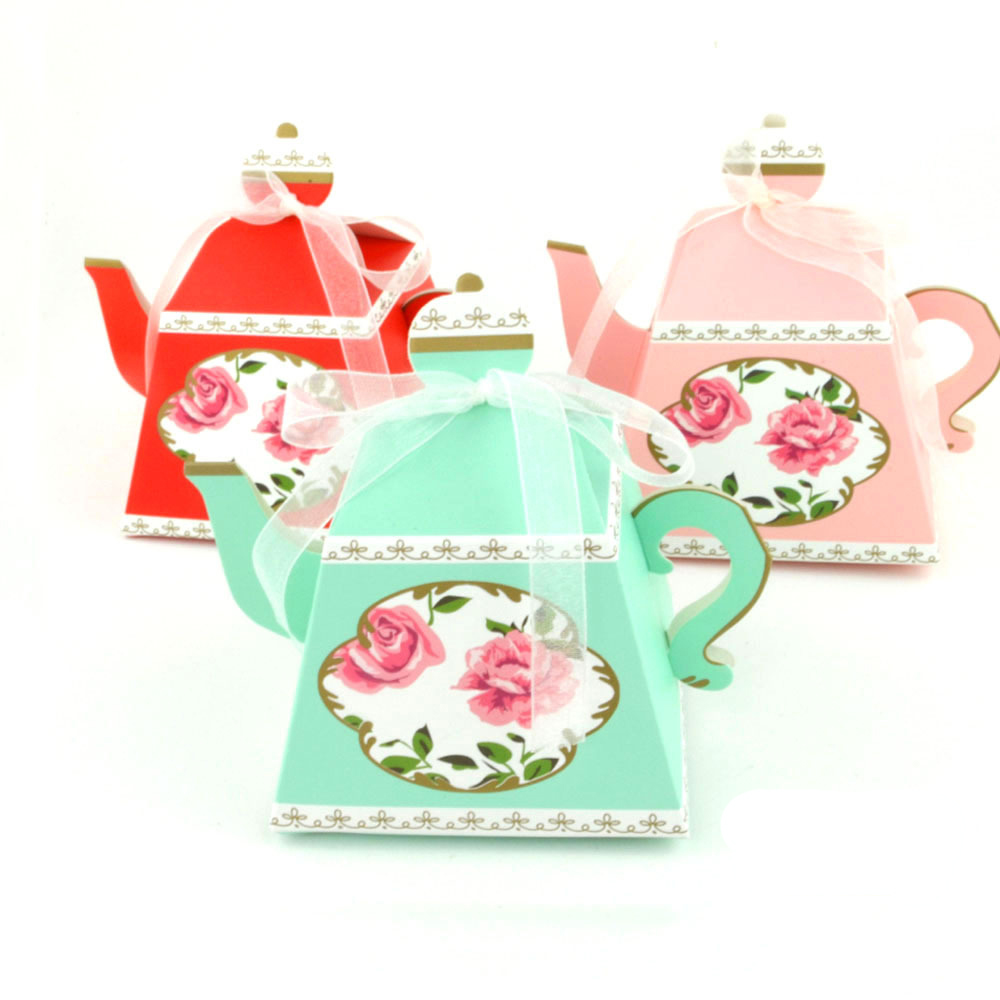 10pcs Creative Candy Box Vintage Teapot Cup Gift Boxes For Wedding Tea Party Favors Gift Bags Pastry Chocolate Box