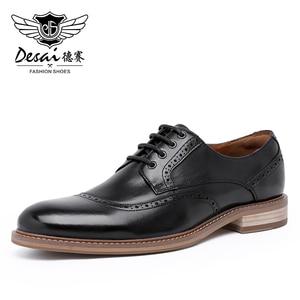 Image 1 - Desai Luxus Echtes Leder Männer Formale Schuhe Spitz Top Qualität Kuh Leder Oxford Männer Kleid Schuhe Größe