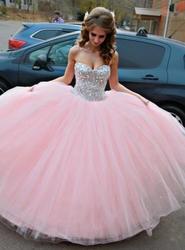 Rosa quinceanera vestidos de baile querida tule cristais inchado barato doce 16 vestidos