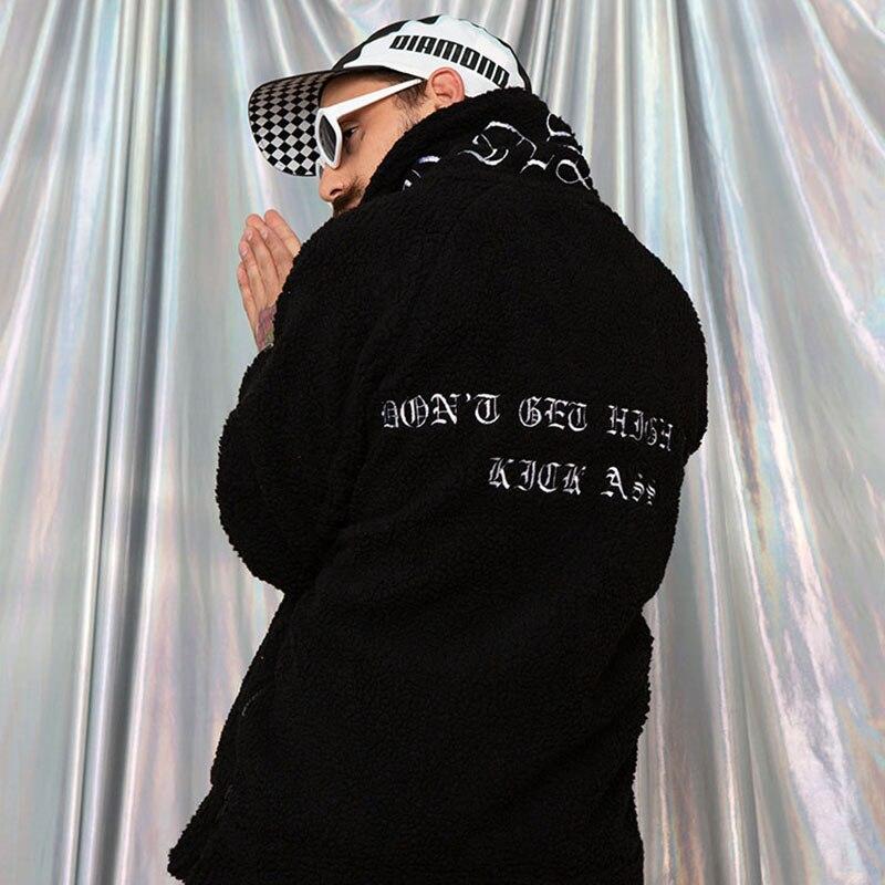 Image 4 - Hip Hop Lamb Wool Jacket Men Gothic Letter Embroidery Jackets Coat Fleece Autumn Winter 2019 Half Zip Jacket Streetwear Retro-in Jackets from Men's Clothing