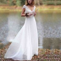 Fashion Cheap White V Neck Lace Bohemian Wedding Dresses Sexy Backless Country Wedding Gowns With Caped Sleeve vestido de noiva