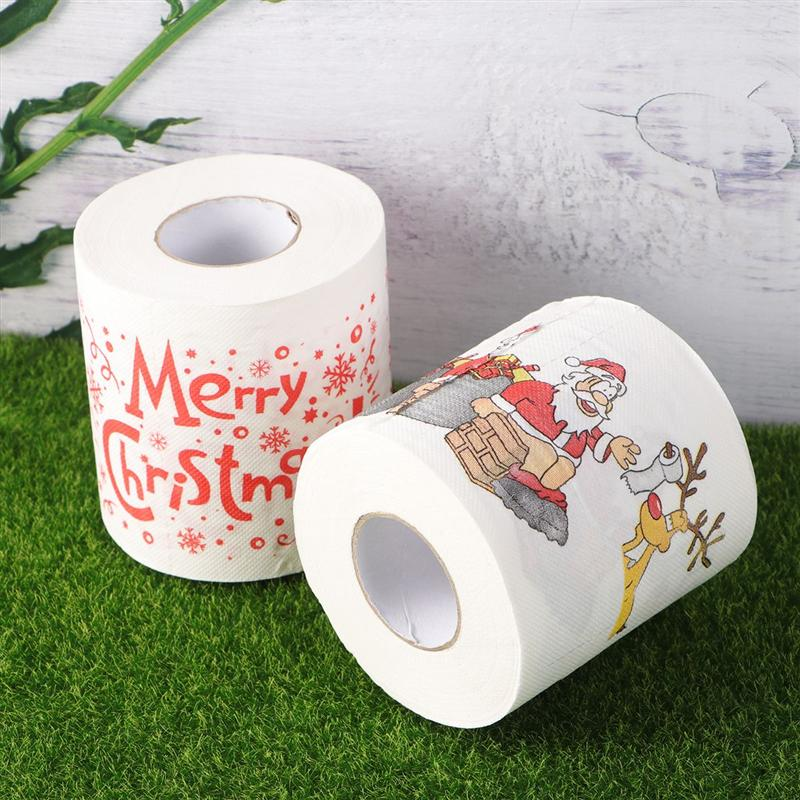 2 Roll Christmas Roll Paper Creative Portable Useful Christmas Printed Toilet Paper Christmas Tissue Roll For Home Restaurant