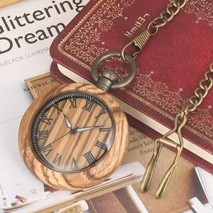Image 5 - レトロゼブラウッド懐中時計ローマ数字ダイヤル発光針木製腕時計時計 fob チェーンための男性女性