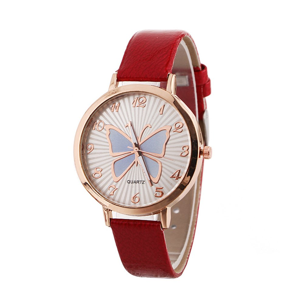 Big Round Dial Soft Leather Strap Quartz Wrist Watch Elegant Women Butterfly Pattern Casual Female Gift For Student Girl Boy