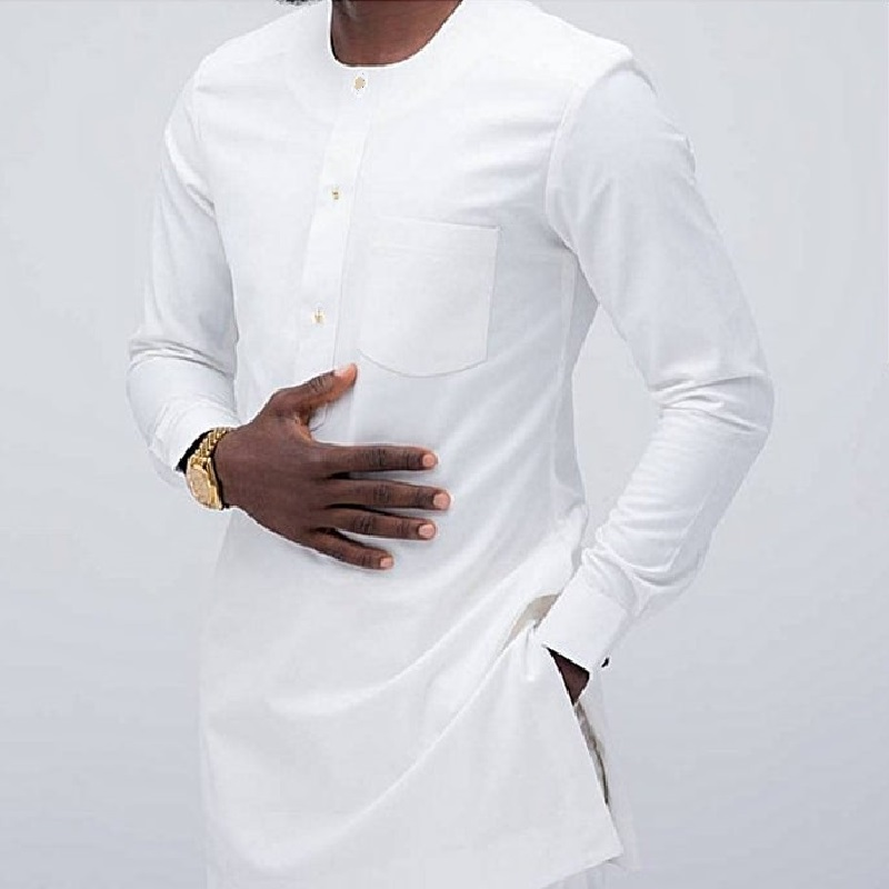 African clothes men's shirt O-neck fashion white long tops with chest pocket custom made party dashiki for dropshipping