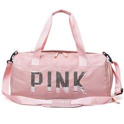 2019 mais novo design lantejoulas letras rosa ginásio de fitness saco de esportes ombro crossbody saco dos homens das mulheres bolsa viagem duffel bolsa
