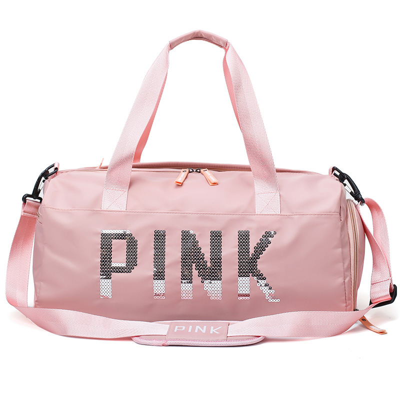 Fashion Design Sequins PINK Letters Training Handbags Shoulder Crossbody Bag Women Men Tote Handbag Travel Duffel Bolsa 2019