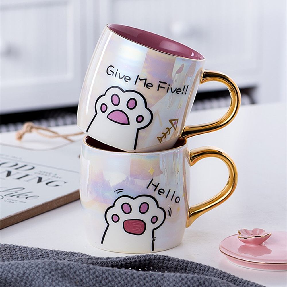 Cartoon Ceramics Cat Mug With Lid and Spoon Coffee Milk Mugs Cute Creative Breakfast Cup Valentine's Day Wedding Birthday Gift (2)