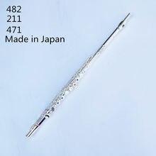 Feito no japão flauta 16 buracos prateado, transversal flauta obturador c chave com e instrumento musical chave