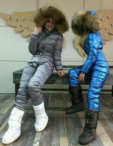On Sale Raccoon Fur 2019 Winter Jumpsuit Women White Duck Down Jackets Women's Ski Suit Down Jacket Outdoor Suit Outerwear Brand