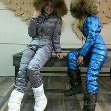 on sale raccoon fur 2019 Winter jumpsuit women white duck do