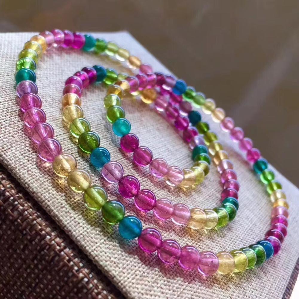 4.9mm Genuine Natural Colorful Tourmaline Bracelet For Women Lady Crystal Stretch Round Beads Fashion Bracelet Jewelry AAAAA