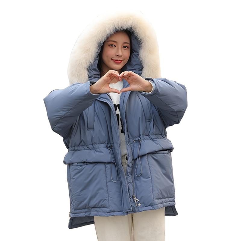 Down   jacket female short section thickening 2019 Women Winter Jacket Oversize Loose Fur Collar Hooded   Down     Coat   Big pocket Parka