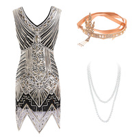 Gatsby Dress 1920s Flapper Dress Roaring 20s Costume Fringe Sequin Beaded Gold Dress and Art Deco Accessories(s XXL)