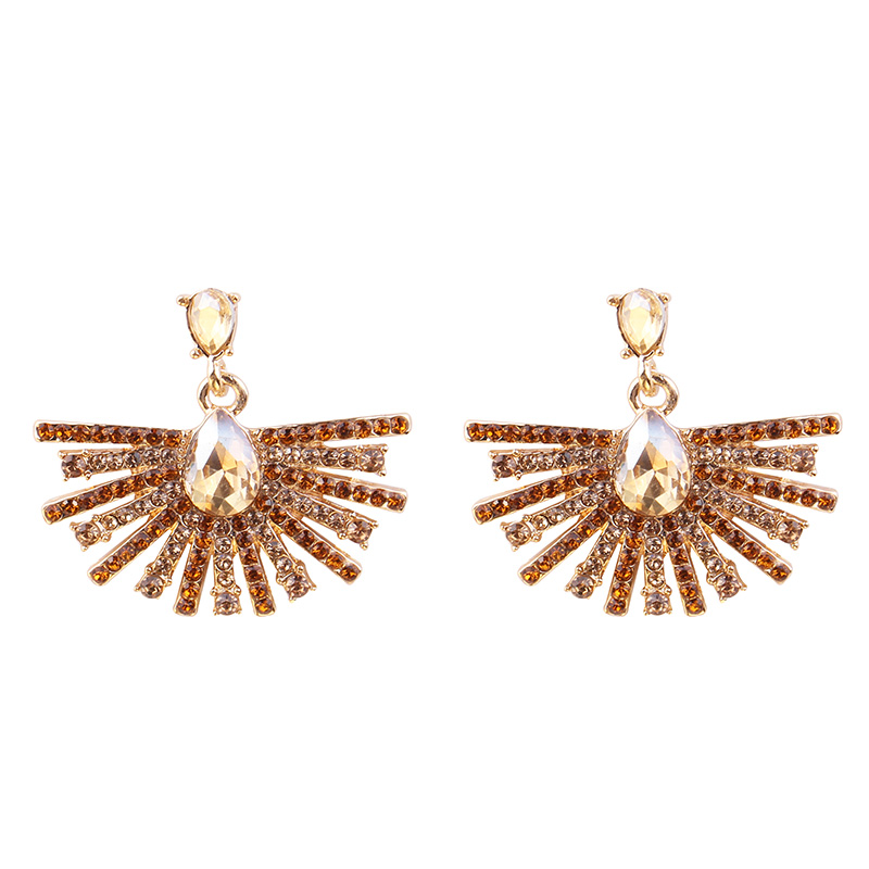 Sunshine Shaped Vintage Antique Golden Transparent Rhinestone Earrings For Women Bijoux Brincos Women 39 s Christmas Gift 2018 in Drop Earrings from Jewelry amp Accessories