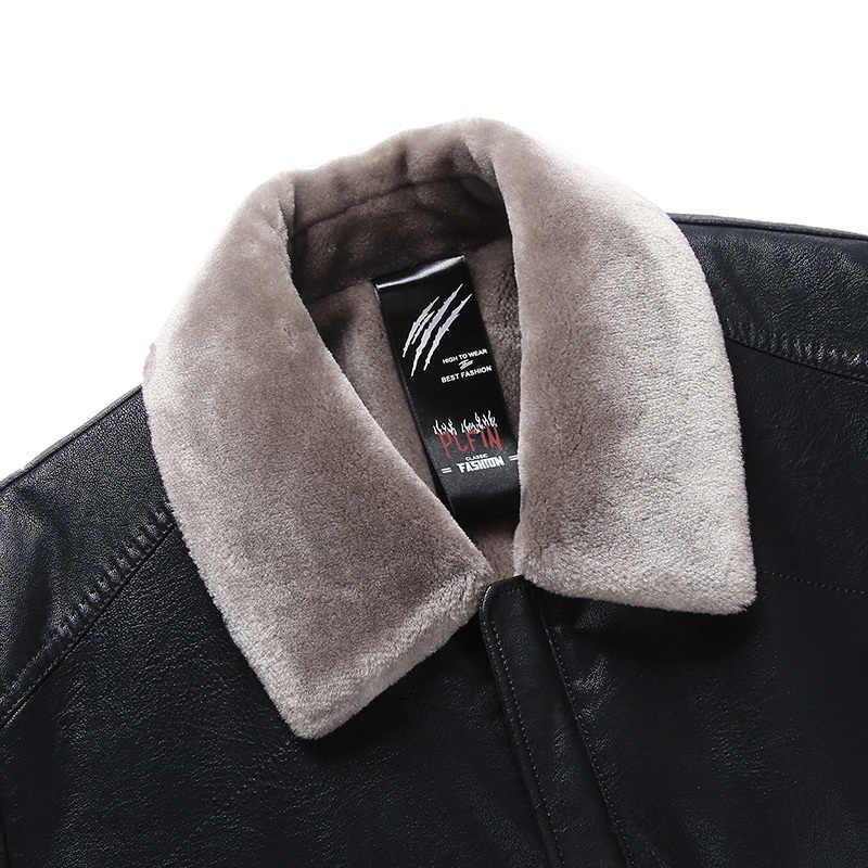 Yeni erkek koyun derisi ceket taklit kürk polar motosiklet bombacı siyah deri mont erkek giyim kış ceket sıcak tutmak