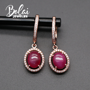Image 3 - Created starlight ruby clasp earring 925 sterling silver rose gold color fine jewelry for girls gift bolaijewelry promotion