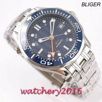 Relogio Masculino Mens Watches Top Brand Blue Dial GMT Sapphire 41mm Luxury Men Military Steel strap Wristwatch Automatic Watch luxury brand bliger mechanical watches 43mm sterile green olive dial gmt ceramic bezel sapphire automatic mens watch p295