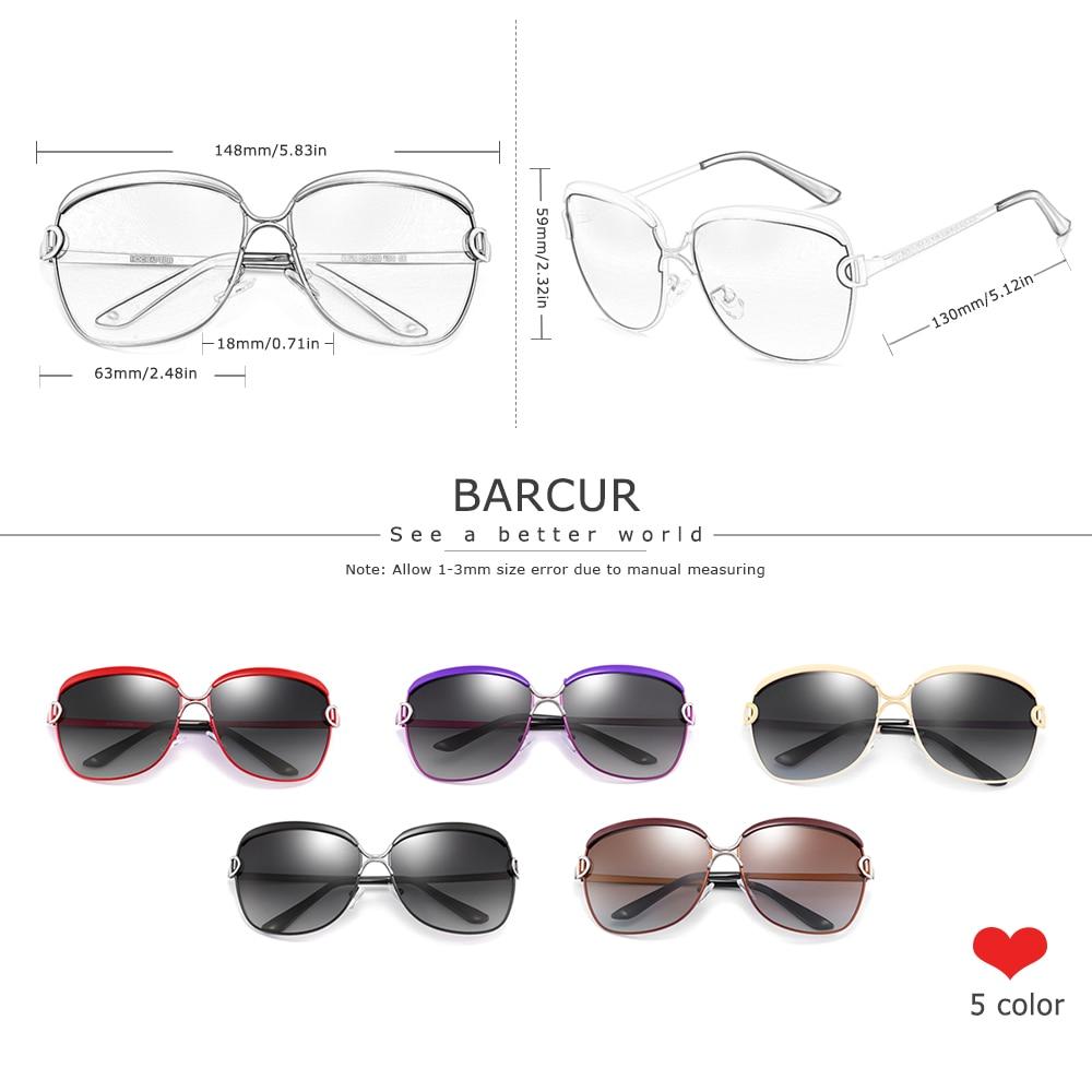 BARCUR Polarized Ladies Sunglasses Women Gradient Lens Round Sun glasses Square Luxury Brand oculos lunette de soleil femme 4