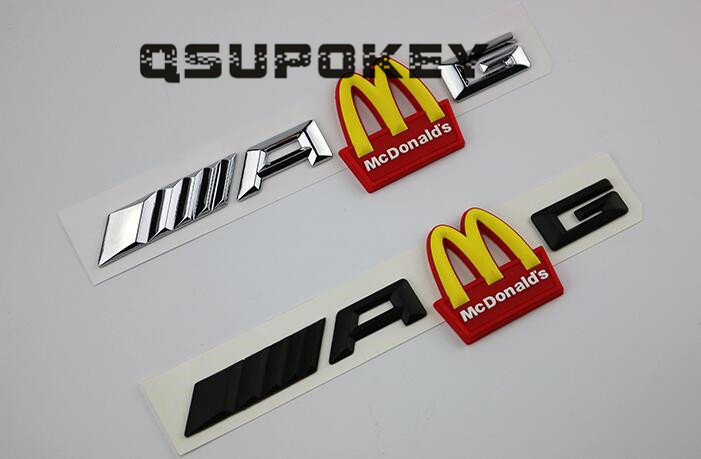 Best selling personality McDonald s M rear tail logo AMG modified gold arch car logo plate word car sticker decoration