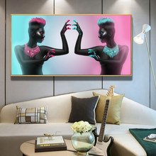 Sexy Black Nude Woman Lips and Nails Canvas Painting Posters and Prints Scandinavian Wall Art Picture for Living Room Home Decor(China)