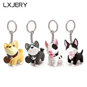 LXJERY 4 Styles Cute Dog Keychains Women Bag Pendant Bull Terrier Husky Akita Dog Keyrings Men Kids Toy Key Holder Gift