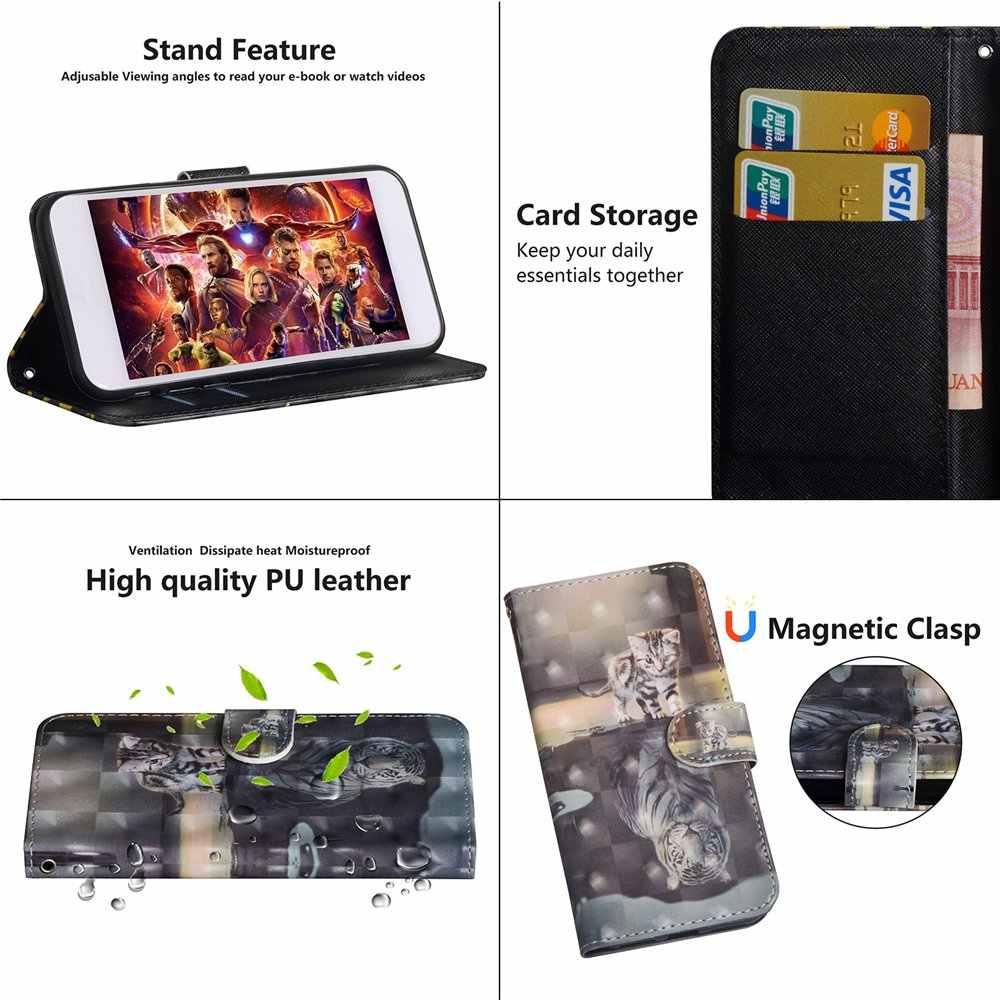 3D portfel etui do SONY Xperia 1 10 Plus L3 L2 L1 pokrywa PU skórzane etui z klapką do SONY Xperia XZ3 XZ2 XZ1 XA2 Plus Premium okładka