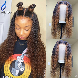 ALICROWN 150% Density Ombre Curly Lace Front Human Hair Wigs with Baby Hair 13*6 Middle Ration Lace Wigs Pre-Plucked Wigs(China)