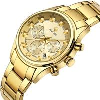 WWOOR heren Quartz Horloges Waterdicht Goud Man Horloge Roestvrij Staal Mesh Band Mannen Horloge Mannelijke Horloge relogio mas