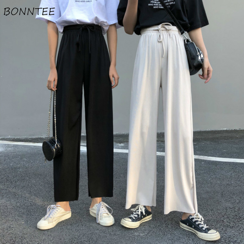 Pants Women Summer Loose Womens High Waist Wide Leg Trousers Thin Comfortable All-match Casual Leisure 2020 Simple Solid Color