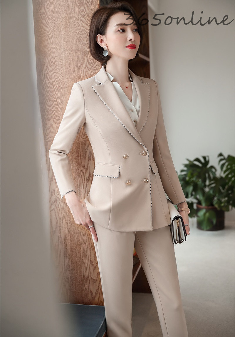 High Quality Fabric Autumn Winter Business Women Formal Uniform Designs Pantsuits With Pants And Jackets Professional Blazers