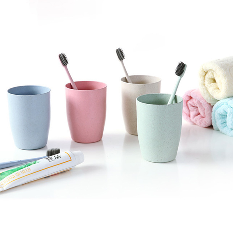 400ml Wheats Straw Water Cup Multifunctional Coffee Plastic Cup Drinking Cups Reusable Brushing Cups GR5