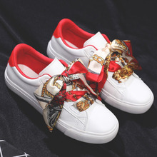 Women White Casual Shoes Riband Lace Lea