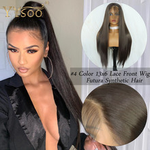 YYsoo #4 Color Futura Hair 13x6 Glueless Lace Front Wigs 6inch Deep Par