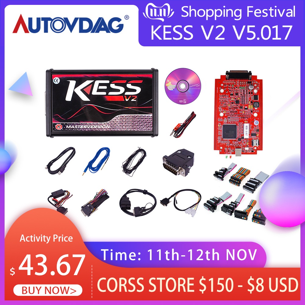 OBD2 New KESS V2 V5 017 EUR Version SW V2 47 Ktag V7 020 EUR Version RED PCB ECU Chip Tuning Tool Manager Tuning For Car Tractor