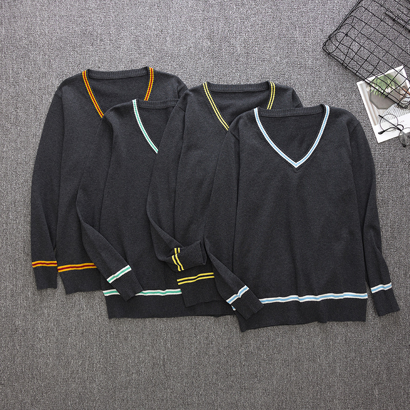 New Sweater V-neck Sweater School Daily Clothes Cosplay Series 4 Colors All-match Cosplay Costumes College Role Playing