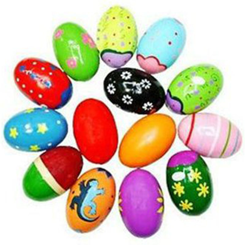 10Pcs Wooden Egg Vibrator 3 Inch Percussion Music Egg Easter Egg Orff Percussion Sand Egg Rattle