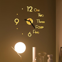 DIY Wall Clock 3D Mirror Surface Sticker Home Office Decor Clock sw5