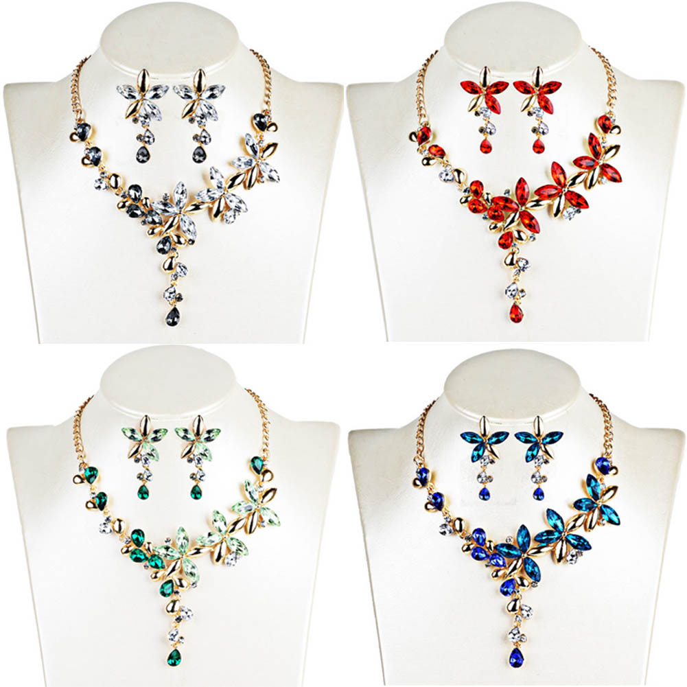 Womens Short Collar Necklaces Jewelry Color Crystal Five Leaves Flowers Rhinestone Statement Gothic Necklace Earring Jewelry Set