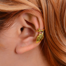 Hello Miss New simple metal retro tree leaves u-shaped ear clips without pierced single clip men and women painless earrings