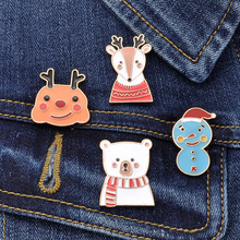 Cute Snowman Polar Bear Drip Oil Brooch Christmas Elk Badge Clothes Bag Decoration Child Jewelry jewelry